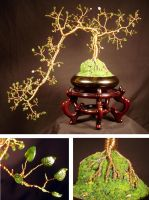 JADE CASCADE,  Wire Tree Sculpture with jade leave by SalVillano