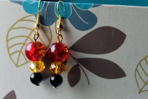 Red, Gold and Black Earrings by Clerdy