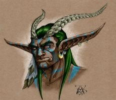 Dark Druid Elf Tiefling by LazarusReturns