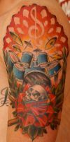 drum and music tattoo by BrettPundt