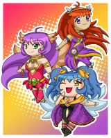 Chibi Commish: Alyssa, Celeste, and Mei by Nine-Tailed-Fox