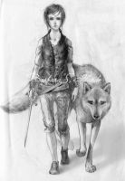 Arya and Nymeria by barbiexsofia