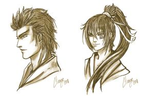 Sketches of practice portraits by Clange-kaze