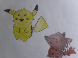 Pikachu and Wolf by Landras