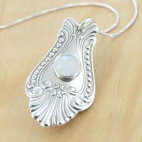 Spoon Pendant with Moonstone by metalsmitten