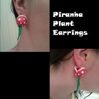 Piranha Plant Earrings by FallenAngelKrisi