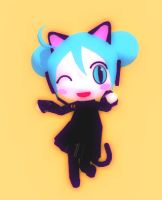 Black Cat Chibi Miku by Aira-Melody