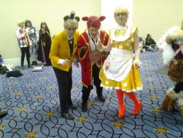 Human Golden Feddy,Foxy,and Chica(katsucon2015) by GingerrattennaXD