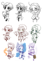 Chibi Sketch Dump by Leefuu