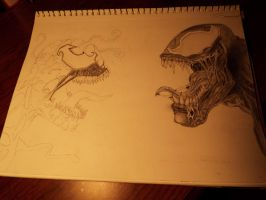 Carnage and Venom in progress by MusicLover439