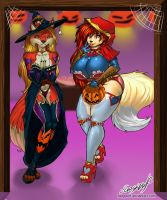 Sabrina and Foxy - seithon's commission by faogwolf
