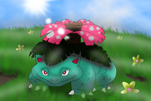 Commission 4/6: Venusaur in a field by OneLoveDrew