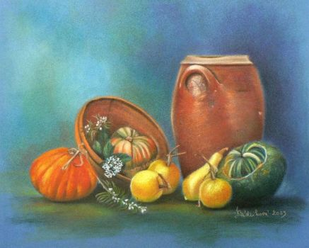 Still Life with Pumpkins by hnedoocko