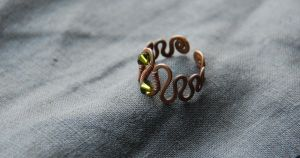Copper Wire Wrapped Ring by Marschalka
