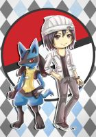Trainer and Lucario by sakurasamichan