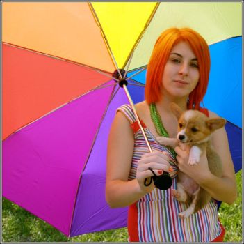 Rainbows and puppies by balloons