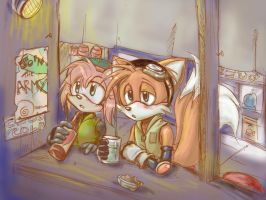 Tails and Amy- I hate mondays. by Looby-the-Pirate