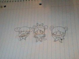 Team Dance chibi (uncolored) by Mlplover575