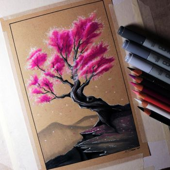 Cherry Tree Drawing by LethalChris