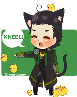 Chibi Lokitty - Kneel! by Cremebunny