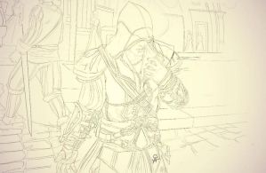 Ezio_Assassins Creed II_Beta sketch by SweeetRazzbery