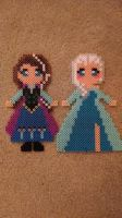 Anna and Elsa Perler Beads by FullmetalsGirl13
