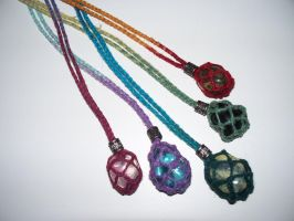 Interchangeable Gemstone Necklace - colours by Bagged-Milk