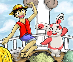 Luffy and Spinda by Sharulia
