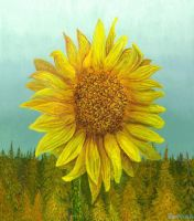Sunflower before the forest by AldemButcher