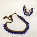 Antique Bronze Chain with Blue Glass Beads Set by Chained-Dragon