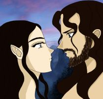 Arwen and Aragorn by AmayaKouryuu