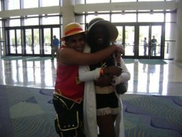 Luffy and Robin: -huggle- by D-warrior35