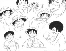 Luffy Expressions - Markers by Andrea--P