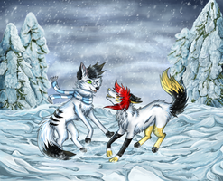 *COLLAB* Playing in the snow by meokami