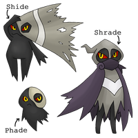 Fakemon - Phade, Shide and Shrade by Sliv-Pie