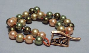 pink, green, and olive two strand bracelet by ACrowsCollection