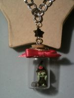 Necklace with a bottle 4 cm with a littlwitch fimo by bimbalove81