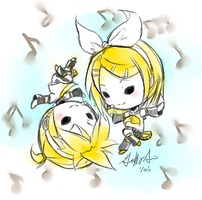 Rin and Len Kagamine by Pluffers
