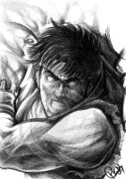 Ryu Sketch by FallenAngel-pen
