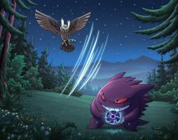 Noctowl vs Gengar by mscorley