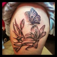 Lily and butterfly tattoo by Malitia-tattoo89