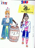 Tea Party: 1775 and 2010 by Xarti