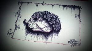 Heart Fucking Brain Pen Drawing by MssMime