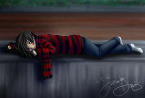 Lucius lying down in sadness by DarkHalo4321