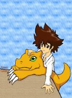 Tai Kamiya and agumon by AmzzCullen