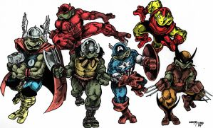 Eastman Laird 1984 Marvel Heroes Turtles by NewtypeS3