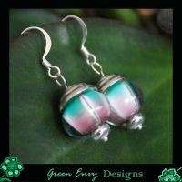 green and purple earrings by green-envy-designs