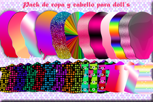 Pack de ropa y pelo para Doll's PastelilloEditions by PastelilloEditions