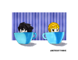 Light and L in Teacups by amethisttomoe