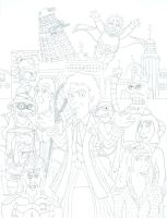 Doctor Who/ Futurama Sixth Doctor (No Color) by iamtherealbender